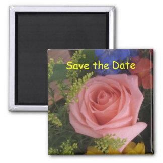 Salvar o ímã cor-de-rosa da data ímã quadrado