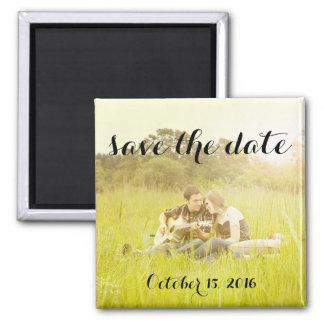Salvar o ímã da foto da data ímã quadrado