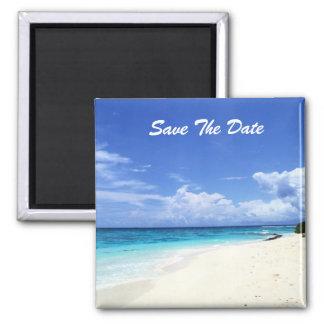 Salvar o ímã da praia da data ímã quadrado