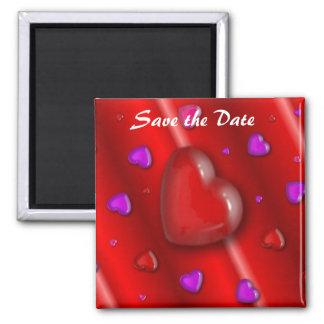 Salvar o ímã do coração da data ímã quadrado