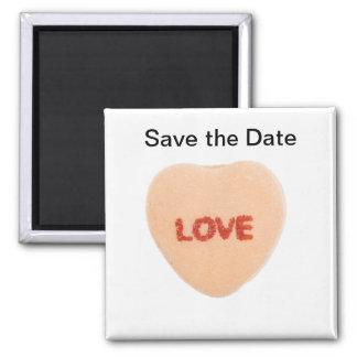 Salvar o ímã do coração dos doces da data ímã quadrado