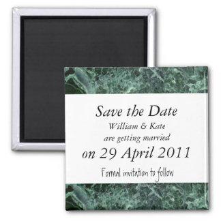 Salvar o ímã do mármore do verde da data ímã quadrado