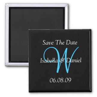 Salvar o ímã do monograma da data ímã quadrado