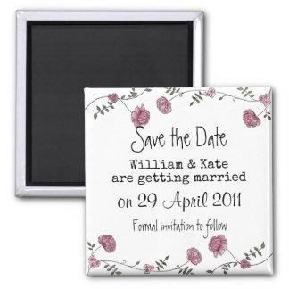 Salvar o ímã floral da data ímã quadrado