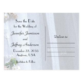 Salvar o laço do anúncio do cartão do casamento da cartão postal