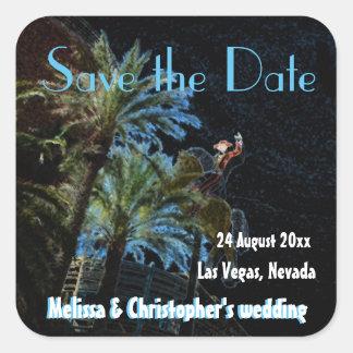 Salvar o sinal de néon de Las Vegas do vintage da Adesivo Quadrado
