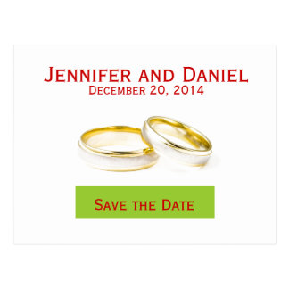 Salvar os anéis do cartão do anúncio do casamento cartão postal