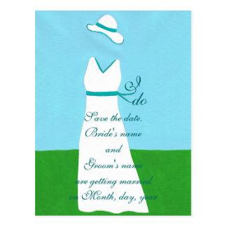 Salvar os cartão da data vestido de casamento cartao postal