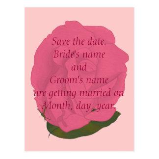 Salvar os cartão do casamento da data rosa do cartão postal