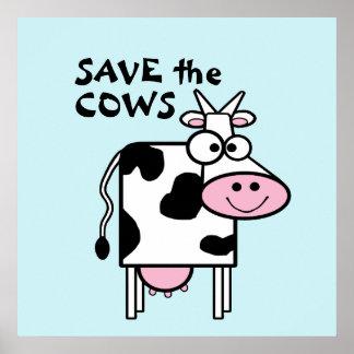 Salvar os direitos dos animais bonitos das vacas pôsteres