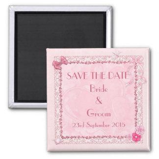 Salvar os ímãs do casamento da data ímã quadrado