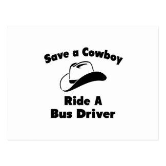 Salvar um vaqueiro. Monte um condutor de autocarro Cartoes Postais