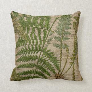 samambaia botânica francesa do impressão da folha almofada