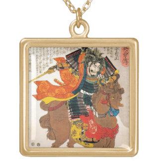 Samurai japonês tradicional oriental legal do colar banhado a ouro