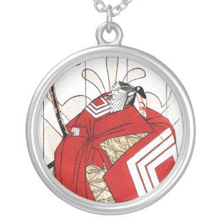 Samurai vermelho japonês tradicional oriental colar banhado a prata