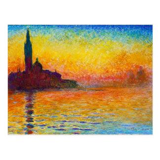 San Giorgio Maggiore no crepúsculo Claude Monet Cartão Postal