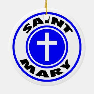 Santo Mary Ornamento De Cerâmica Redondo