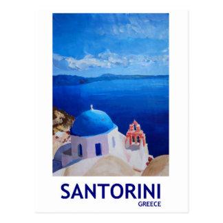 Santorini azul, piscina - vista de Oia Cartão Postal