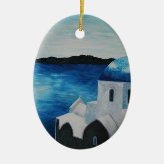 Santorini, piscina - abóbada azul ornamento de cerâmica oval