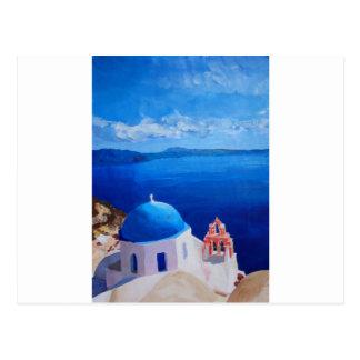 Santorini, piscina - vista de Oia Cartão Postal