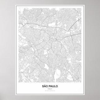 São Paulo, Brasil, poster minimalista do mapa