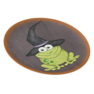 Sapo adorável em um chapéu o Dia das Bruxas das br Louças De Jantar