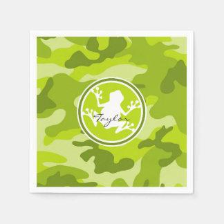 Sapo;  camo verde, camuflagem guardanapo de papel