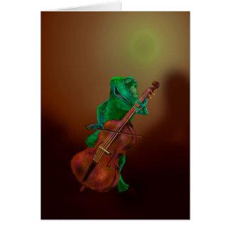 Sapo com violoncelo cartão