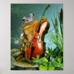Sapo cómico da cena que joga o violoncelo na lagoa pôster