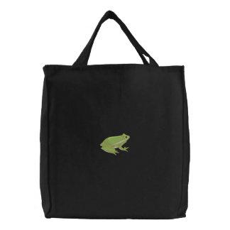 Sapo de árvore verde bolsas bordadas