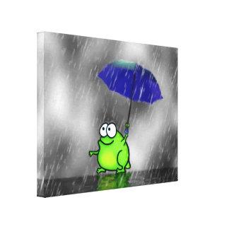 Sapo do dia chuvoso impressão em tela