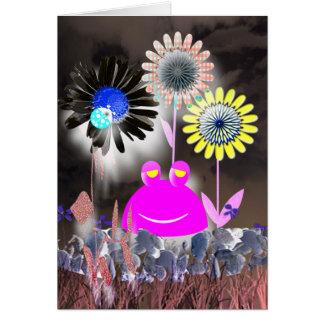 Sapo e jardim abstratos do feriado cartão comemorativo