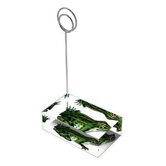 Sapo verde suportes para cartão de mesa
