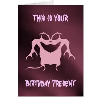 Sarcástico malva e cor-de-rosa do monstro pequeno cartão comemorativo