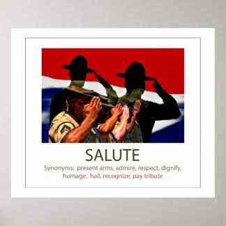 Sargentos de saudação e a saudação da palavra poster