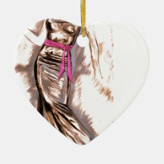 """""""Sashed """" Ornamento De Cerâmica Coração"""