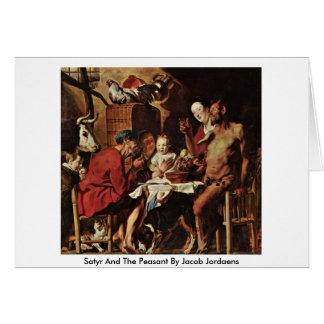 Satyr e o camponês por Jacob Jordaens Cartão Comemorativo