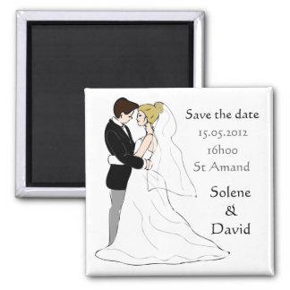 Save the data magnet casal de casados ímã quadrado