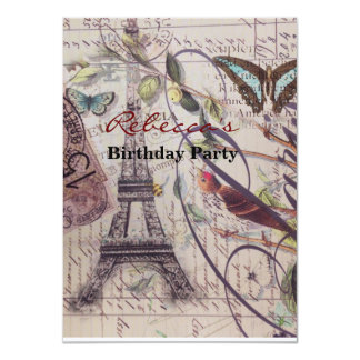 Scripts a torre Eiffel francesa de Paris da Convite 11.30 X 15.87cm