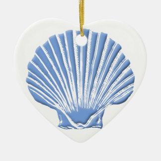 Seashell azul ornamento de cerâmica coração