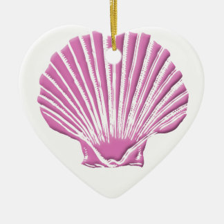 Seashell cor-de-rosa ornamento de cerâmica coração