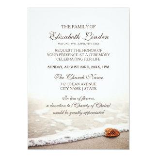 Seashell na cerimonia comemorativa da praia convite 12.7 x 17.78cm