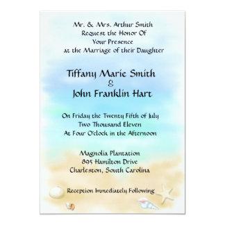 Seashells nos convites do casamento de praia