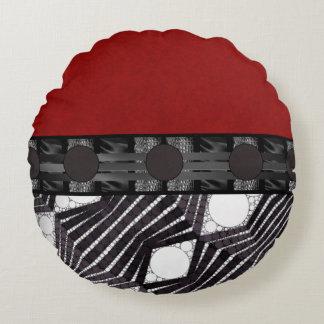 Seda branca preta do vermelho de Bling Almofada Redonda