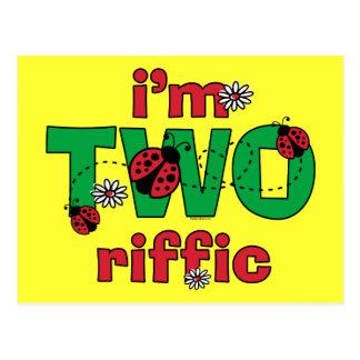 Segundo aniversário do joaninha de TWOriffic Cartoes Postais