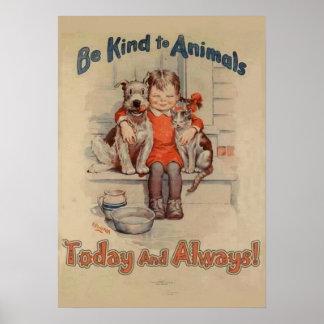 Seja amável ao poster dos animais pôster