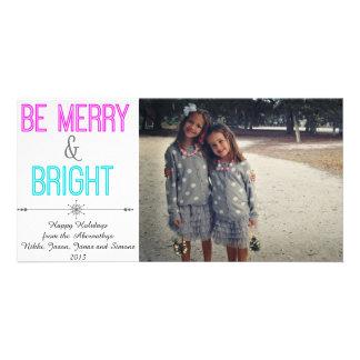 Seja cartões de foto de Natal alegres e brilhantes Cartão Com Foto