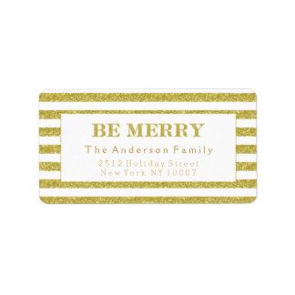 Seja etiqueta de endereço alegre do brilho do ouro