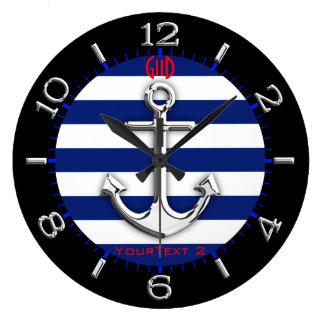 Seletor personalizado das listras de azuis relógios de paredes