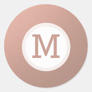 Selo cor-de-rosa da inicial do monograma da folha adesivo